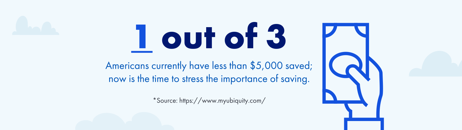 Americans currently have less than 5000 saved; now is the time to stress the importance of savings*