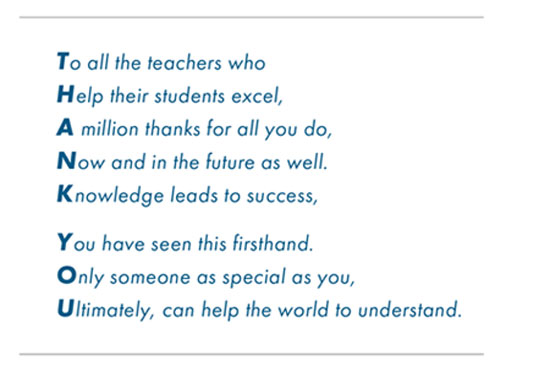 Thank you poem for teachers